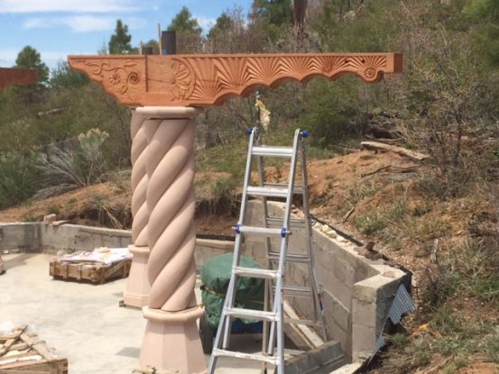 Columns and corbels for the Murshid Sam dargah by Wind River Timberframes